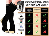 Physix Gear Compression Socks for Men & Women 20-30 mmhg, Best Graduated Athletic Fit for Running Nurses Shin Splints Flight Travel & Maternity Pregnancy - Boost Stamina Circulation & Recovery BGE LXL