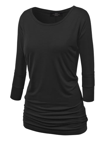 Made By Johnny MBJ WT822 Womens 3/4 Sleeve with Drape Top XS Black