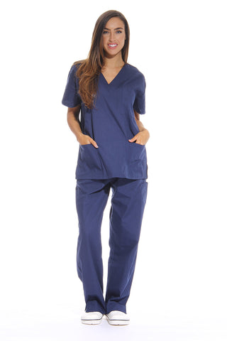 Just Love Women's Scrub Sets Six Pocket Medical Scrubs (V-Neck With Cargo Pant), Navy, Small
