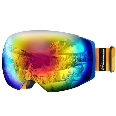 OutdoorMaster Ski Goggles PRO - Frameless, Interchangeable Lens 100% UV400 Protection Snow Goggles for Men & Women ( Blue Frame Orange Strap VLT 15% Grey Lens with REVO Red and Free Protective Case )