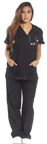 Just Love Women's Scrub Sets Six Pocket Medical Scrubs (V-Neck With Cargo Pant), Black, Small