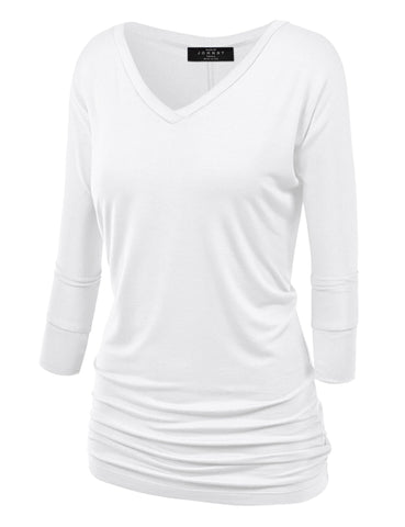 Made By Johnny WT1036 Womens V Neck 3/4 Sleeve Dolman Top with Side Shirring S White