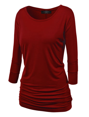 Made By Johnny MBJ WT822 Womens 3/4 Sleeve with Drape Top XXXXL Wine