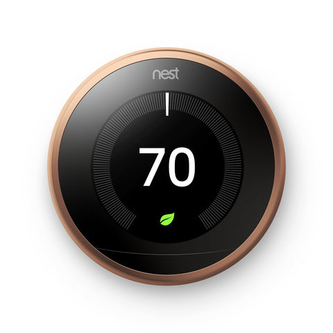 Nest T3021US Learning Thermostat, Easy Temperature Control for Every Room in Your House, Copper (Third Generation), Works with Alexa Small