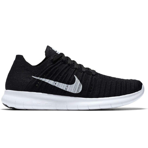 Nike Women's Free Running Motion Flyknit Shoes, Black/White - 7 B(M) US