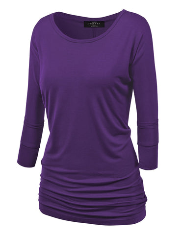 Made By Johnny MBJ WT822 Womens 3/4 Sleeve with Drape Top XXXXL Dark_Purple