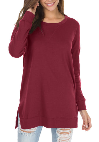 levaca Womens Round Neck Solid Side Split Loose Casual Plus Sweatshirt Wine M
