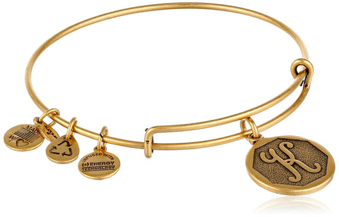 "Alex and Ani Rafaelian Gold-Tone Initial ""K"" Expandable Wire Bangle Bracelet, 2.5"""