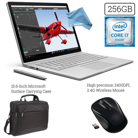 Microsoft Surface Book (256GB, 8GB RAM, Intel Core i7) + 15.6-Inch Microsoft Surface Carrying Case + 2.4G Wireless Portable Mobile Optical Mouse with USB Receiver + DigitalAndMore Cloth Bundle