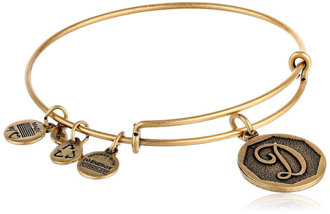 "Alex and Ani Rafaelian Gold-Tone Initial ""D"" Expandable Wire Bangle Bracelet, 2.5"""