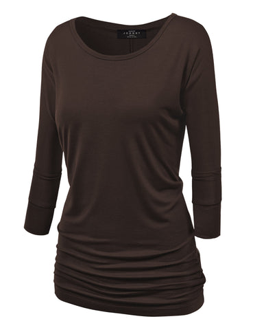 Made By Johnny MBJ WT822 Womens 3/4 Sleeve with Drape Top S Brown