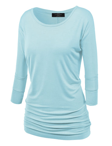 Made By Johnny MBJ WT822 Womens 3/4 Sleeve with Drape Top XL Aqua
