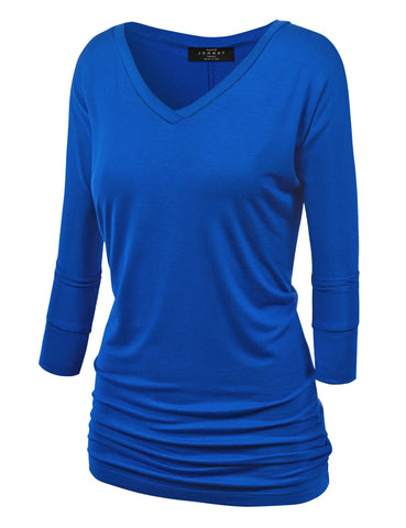 WT1036 Womens V Neck 3/4 Sleeve Dolman Top with Side Shirring XXL Royal_Brite