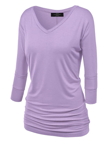 WT1036 Womens V Neck 3/4 Sleeve Dolman Top with Side Shirring L Lilac