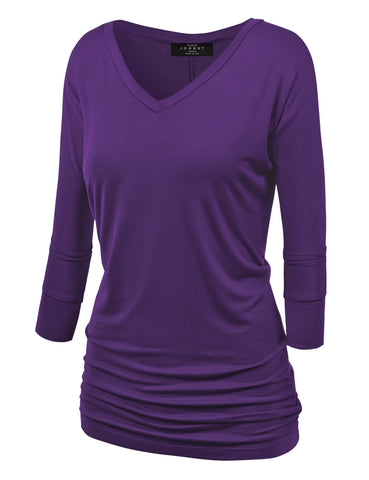 Made By Johnny WT1036 Womens V Neck 3/4 Sleeve Dolman Top with Side Shirring XS Dark_Purple