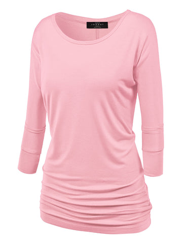 Made By Johnny MBJ WT822 Womens 3/4 Sleeve with Drape Top L Pink