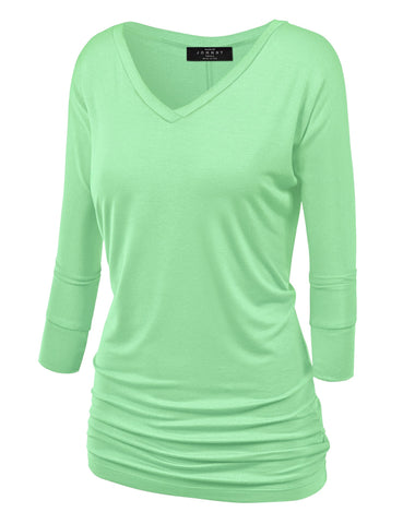 Made By Johnny WT1036 Womens V Neck 3/4 Sleeve Dolman Top with Side Shirring S Mint