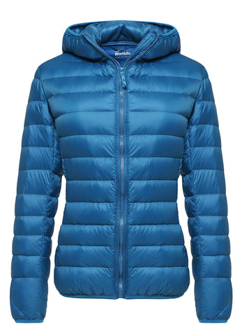 Wantdo Women's Hooded Packable Ultra Light Weight Down Coat Short Outwear(Acid Blue,US Small)