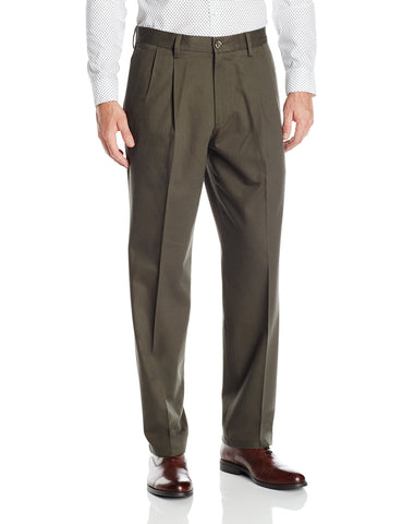 Dockers Men's Signature Khaki Classic-Fit Pleated Pant, Olive Grove (Stretch) - 32W x 32L