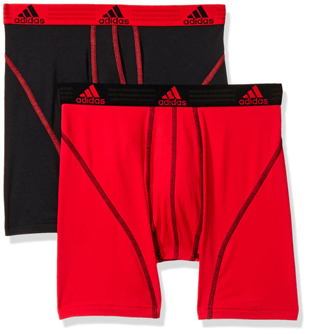 adidas Men's Sport Performance Climalite Boxer Briefs Underwear (2-Pack), Real Red/Black, Medium/Waist Size 32-34