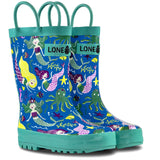 LONECONE Rain Boots with Easy-On Handles in Fun Patterns for Toddlers and Kids, Mermaids, 11 Little Kid