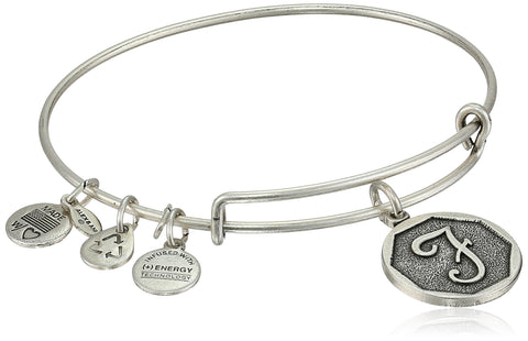 "Alex and Ani Rafaelian Silver-Tone Initial ""F"" Expandable Wire Bangle Bracelet, 2.5"""