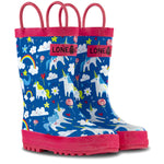 LONECONE Rain Boots with Easy-On Handles in Fun Patterns for Toddlers and Kids, Gary The Unicorn, 9 Toddler