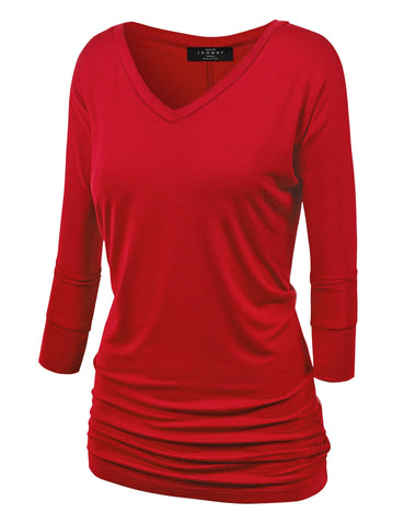WT1036 Womens V Neck 3/4 Sleeve Dolman Top with Side Shirring XS RED