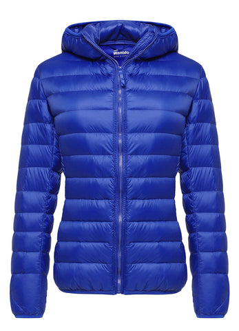 Wantdo Women's Hooded Packable Ultra Light Weight Down Coat Short Outwear(Sapphire Blue,US Medium)
