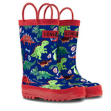 LONECONE Rain Boots with Easy-On Handles in Fun Patterns for Toddlers and Kids, Puddle-a-Saurus Dinosaur, 2 Little Kid