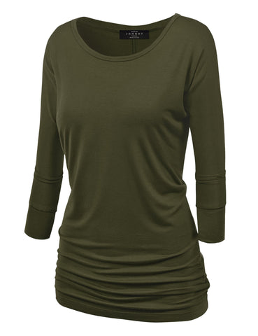Made By Johnny MBJ WT822 Womens 3/4 Sleeve with Drape Top M Olive