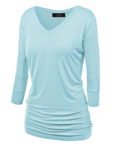 Made By Johnny WT1036 Womens V Neck 3/4 Sleeve Dolman Top with Side Shirring M Aqua