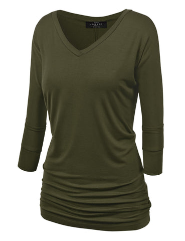 Made By Johnny WT1036 Womens V Neck 3/4 Sleeve Dolman Top with Side Shirring XL Olive