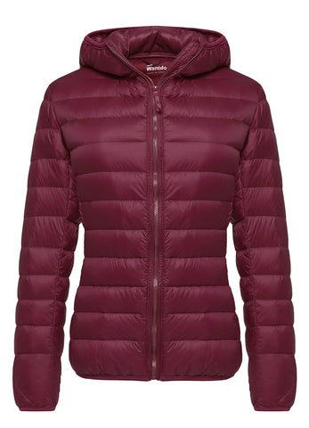 Wantdo Women's Hooded Packable Ultra Light Weight Down Coat Short Outwear(Wine Red,US Medium)