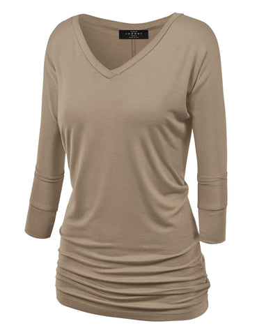 Made By Johnny WT1036 Womens V Neck 3/4 Sleeve Dolman Top with Side Shirring M Taupe