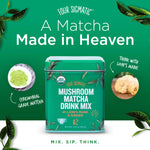 Four Sigmatic Mushroom Matcha, USDA Organic, Ceremonial Grade Matcha Grean Tea Powder with Lions Mane Mushroom Powder & Ginger, Balanced Energy & Focus, Vegan, Paleo, 60g - 20 servings, 2.12 Ounce