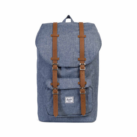 Herschel Little America Backpack - Dark Chambray Crosshatch/Tan Synthetic Leather