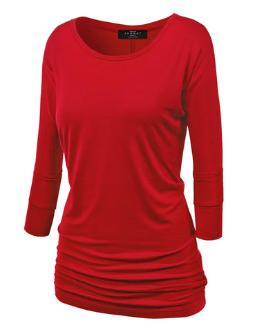 MBJ WT822 Womens 3/4 Sleeve with Drape Top XS RED
