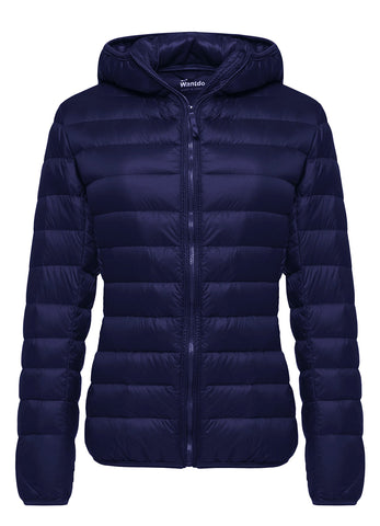 Wantdo Women's Hooded Packable Ultra Light Weight Down Coat Short Outwear(Navy,US X-Large)