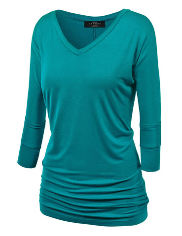 Made By Johnny WT1036 Womens V Neck 3/4 Sleeve Dolman Top with Side Shirring S Jade