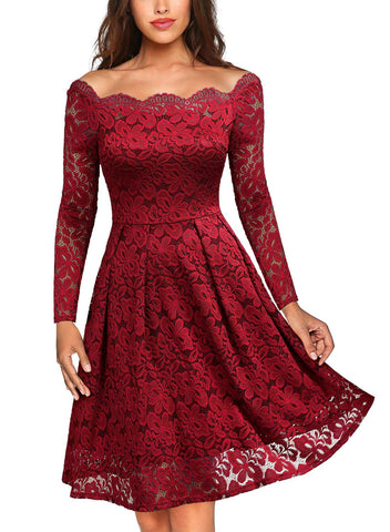 MISSMAY Women's Vintage Floral Lace Long Sleeve Boat Neck Cocktail Party Swing Dress, Medium, Red