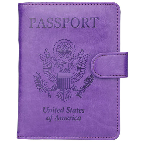 GDTK Leather Passport Holder Cover Case RFID Blocking Travel Wallet (Purple)
