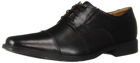 Clarks Men's Tilden Cap Oxford Shoe,Black Leather,8 M US