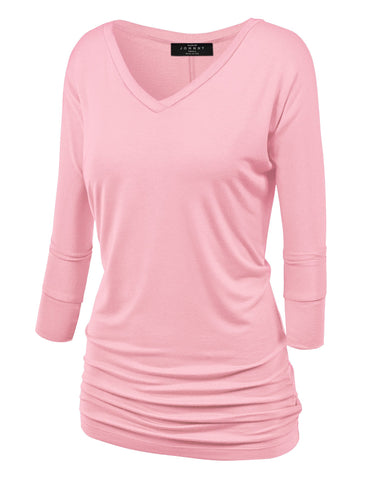 Made By Johnny WT1036 Womens V Neck 3/4 Sleeve Dolman Top with Side Shirring L Pink