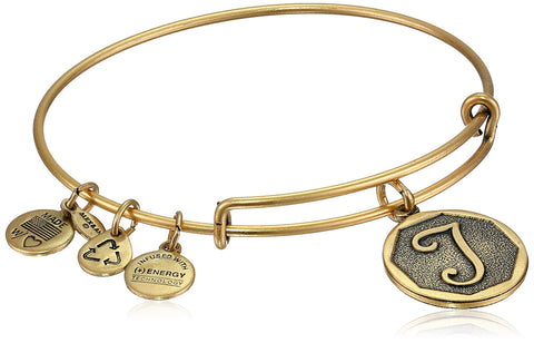 "Alex and Ani Rafaelian Gold-Tone Initial ""T"" Expandable Wire Bangle Bracelet, 2.5"""