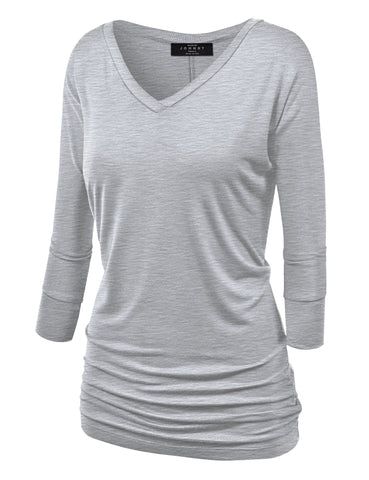 Made By Johnny WT1036 Womens V Neck 3/4 Sleeve Dolman Top with Side Shirring L Heather_Grey