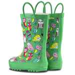 LONECONE Rain Boots with Easy-On Handles in Fun Patterns for Toddlers and Kids, Hoot-y Boots, 4 Toddler