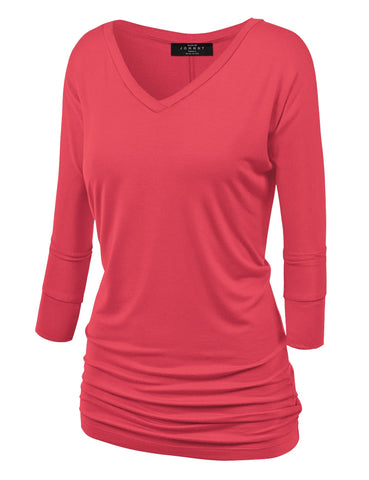 Made By Johnny WT1036 Womens V Neck 3/4 Sleeve Dolman Top with Side Shirring S Coral