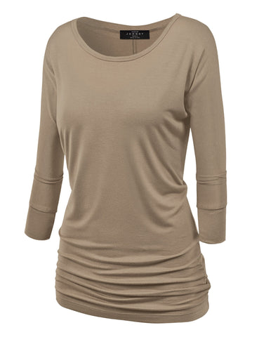 Made By Johnny MBJ WT822 Womens 3/4 Sleeve with Drape Top M Taupe