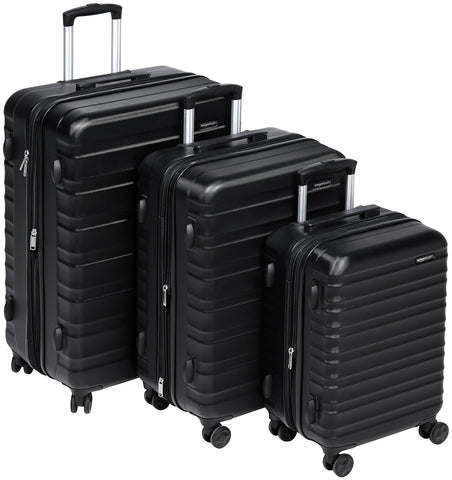 AmazonBasics 3 Piece Hardside Spinner Travel Luggage Suitcase Set - Black